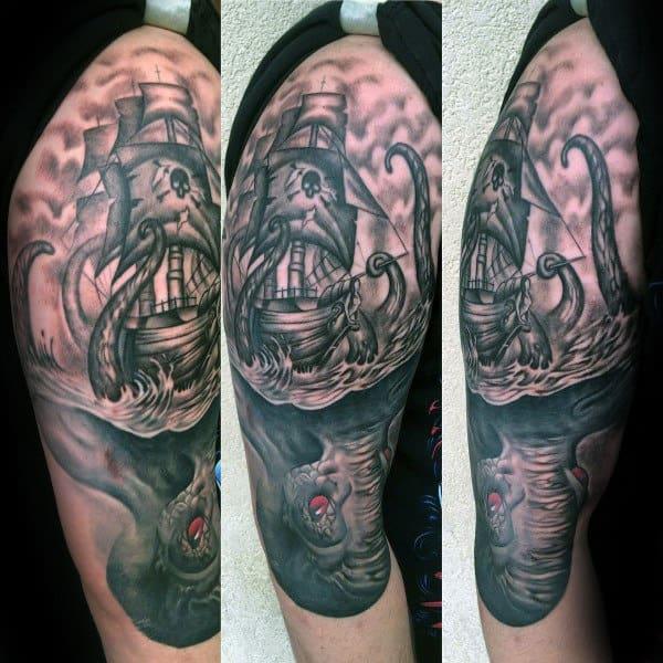 Legendary Sea Monster Mens Kraken Half Sleeve Tattoo