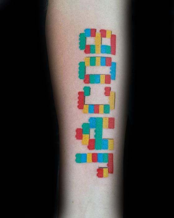 Lego Tattoo Design On Man