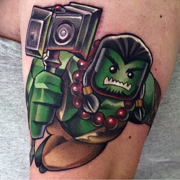Lego Themed World Of Warcraft Video Game Bicep Tattoo