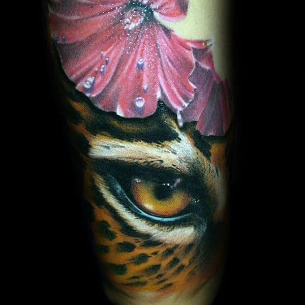 Leopard Eye Mens Forearm Sleeve Tattoos