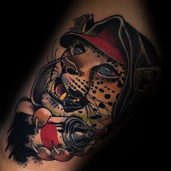 Leopard Grafiti Mens Arm Tattoo Ideas