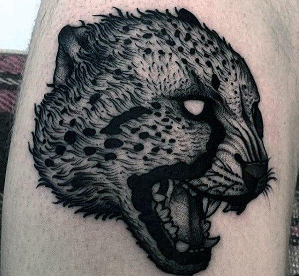 Leopard Head Mens Black Ink Arm Tattoo Ideas