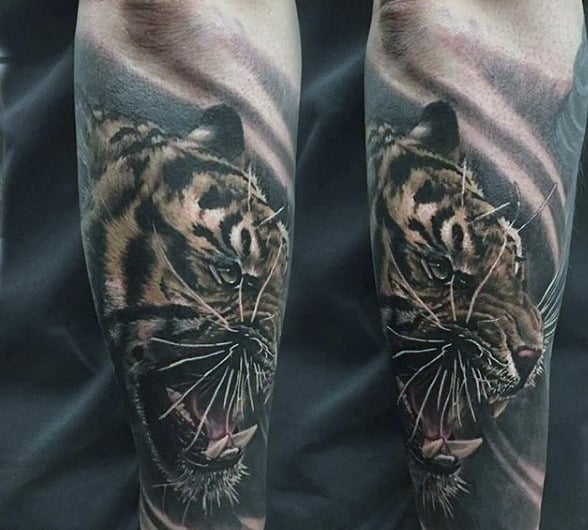 Lepord Animal Sleeve Tattoo For Guys