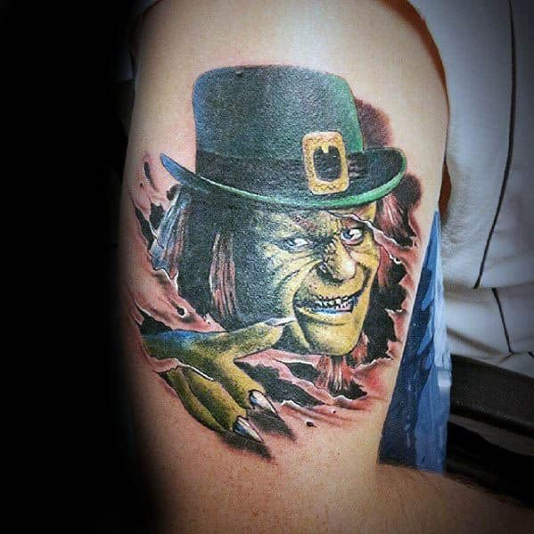 Leprechaun Thigh Tattoos For Gentlemen