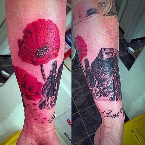 Lest We Forget Memorial Poppy Tattoo On Mans Wrist