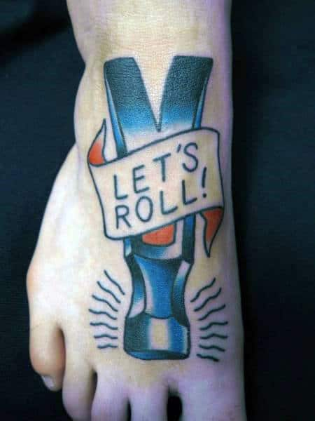Lets Roll Ribbon Claw Hammer Foot Tattoos For Men