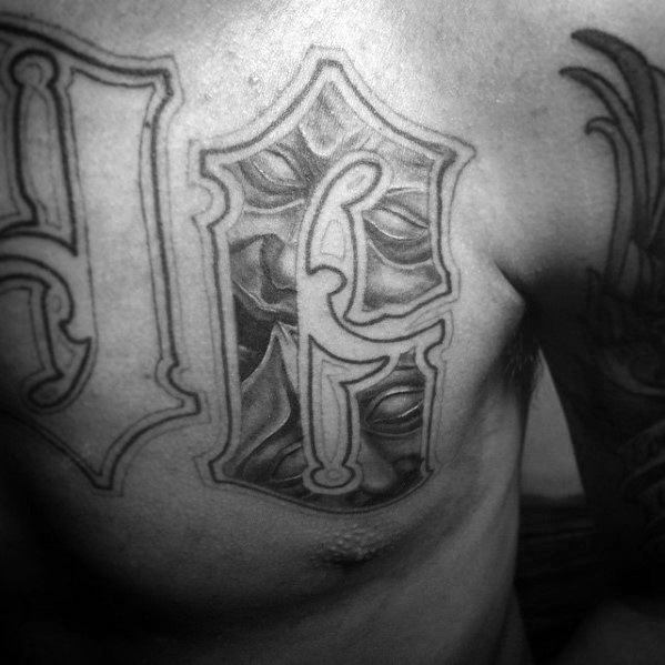 Letter Chest Cool Male Drama Mask Tattoo Designs