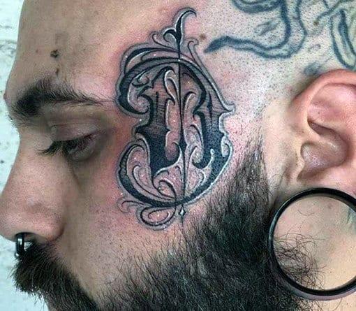 Letter D Mens Ornate Face Tattoo Designs