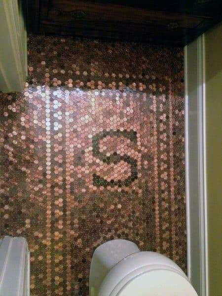 Letter S In Penny Floor Design