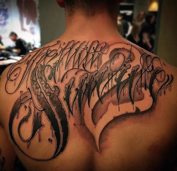 Lettering Badass Mens Upper Back Tattoo