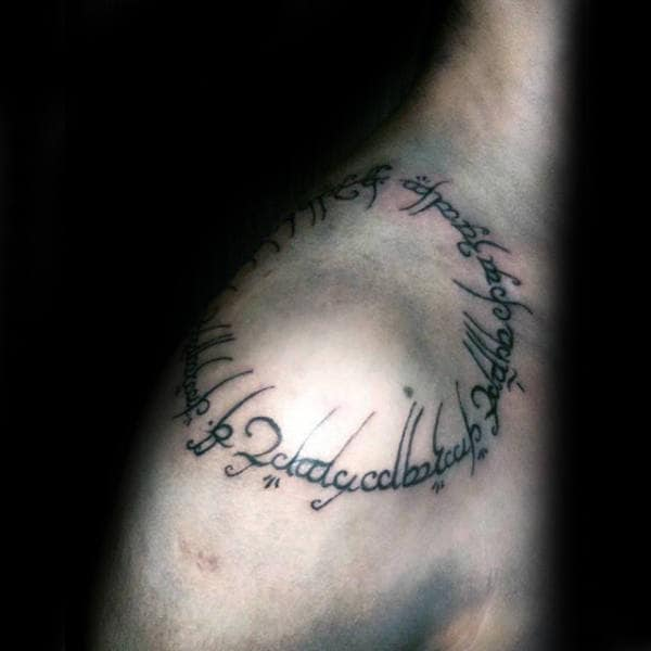 Lettering Circle Mens Shoulder Tattoo Ideas
