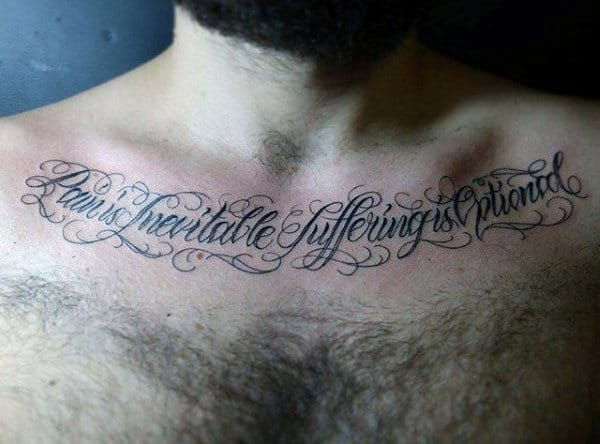 Lettering Cursive Collar Bone Male Tattoo Ideas
