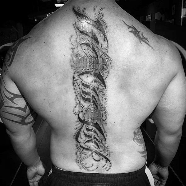Lettering Male Spine Tattoo Of Back
