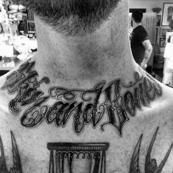 Lettering Skin And Bones Collar Bone Male Tattoos