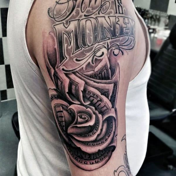 Lettering With Money Rose Upper Arm Guys Tattoos