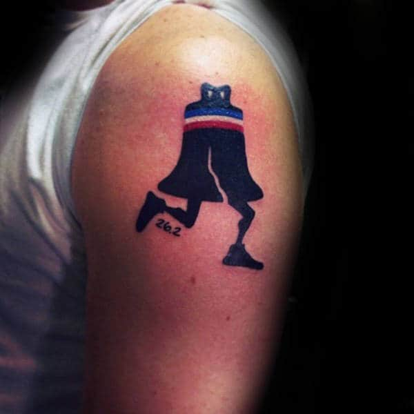 Liberty Bell Running Tattoo For Men On Upper Arm
