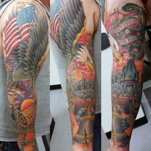 Liberty Bell With Bald Eagle Patriotic American Sleeve Tattoos For Men