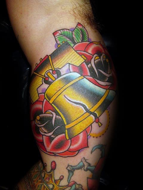 Liberty Bell With Rose Flowers Mens Bicep Inner Arm Tattoos