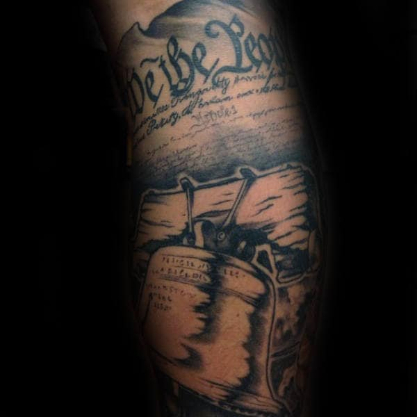Liberty Bell With We The People Paper Mens Sleeve Tattoo