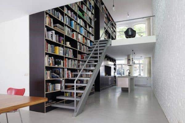 Library Bookcase Wall By Staircase Loft Ideas