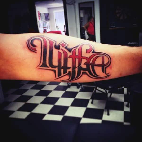 Life Ambigram Mens Tattoos