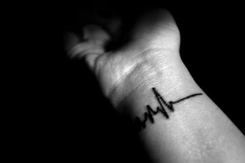 Life Death Heartbeat Mens Wrist Tattoos With Black Ink Line Design