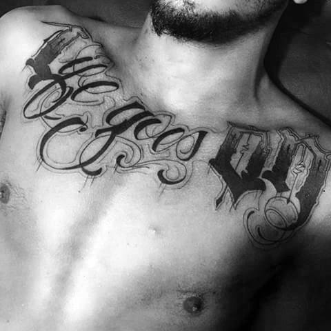 Life Goes On Upper Chest Script Mens Tattoo Ideas