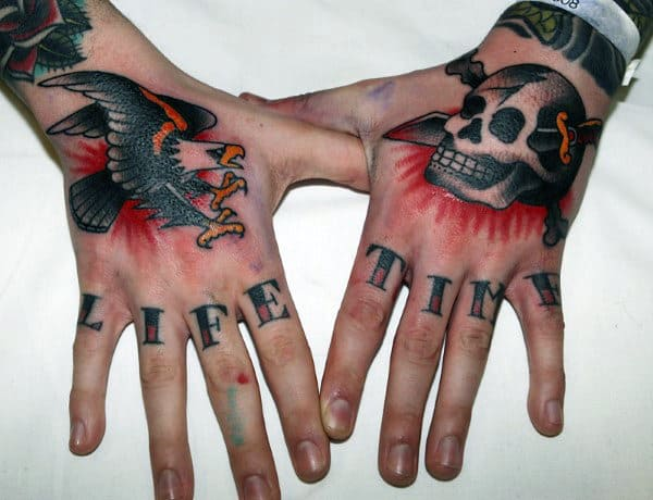 Life Time Male Knuckle Tattoos Words