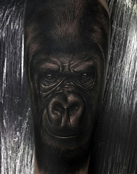 Lifelike Black Gorilla Male Tattoo On Arm