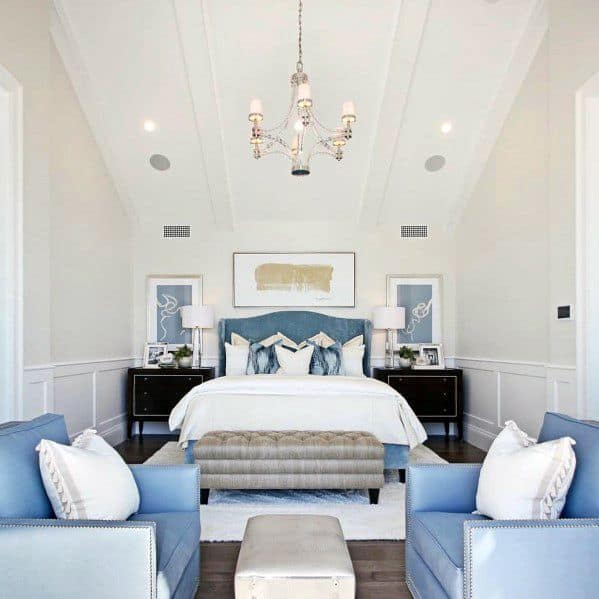 Light Blue And White Master Bedroom Ideas With High Ceilings