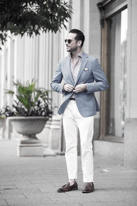 Light Blue Blazer What To Wear With Guys White Jeans Outfits Style Fashion Inspiration