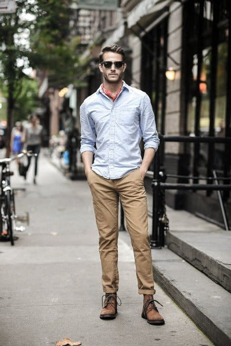 Light Blue Dress Shirt With Tan Chinos Stylish Male Boots How To Wear Outfits Fashion Ideas