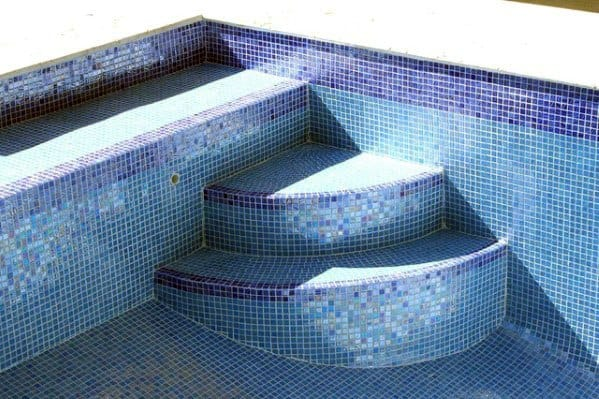 Light Blue With Navy Waterline Swimming Pool Tile Ideas