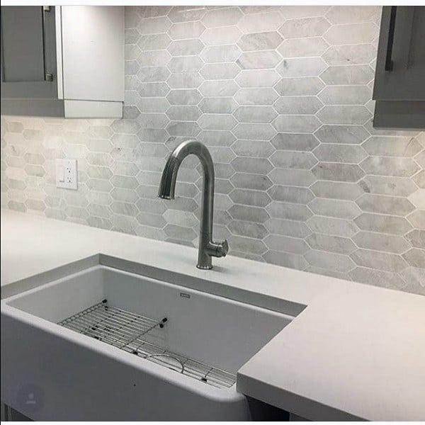 Light Grey And White Pattern Kitchen Backsplash Design Ideas