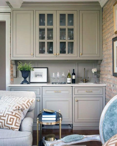 Light Grey Cabinets Wet Bar Ideas