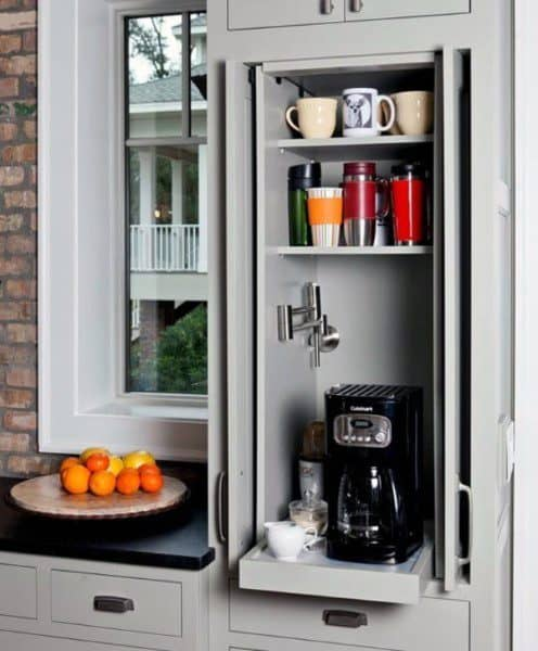 Light Grey Coffee Bar Kitchen Cabinet Shelf Ideas