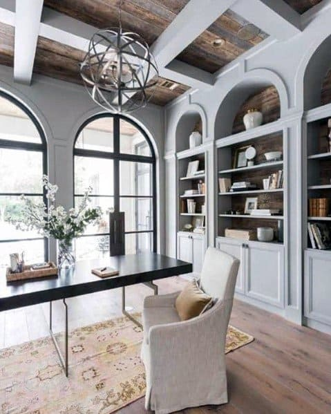 Light Grey Home Office Design Wood Ceiling Ideas