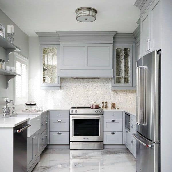 Light Grey Kitchen Cabinet Ideas With Epoxy Concrete Floors