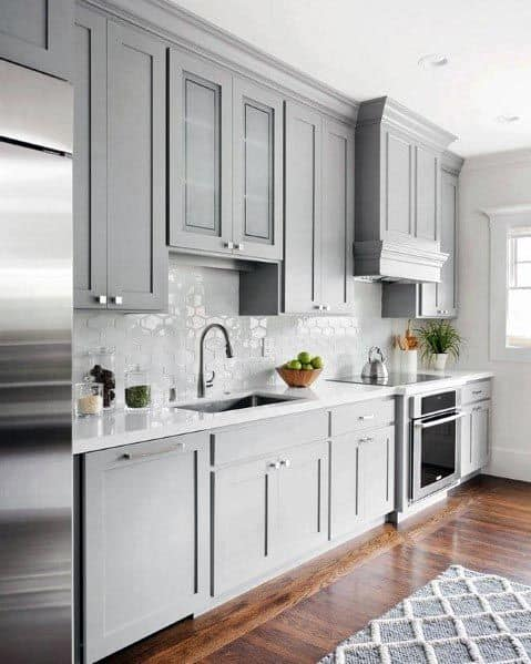 Light Grey Kitchen Cabinet Ideas With Hardwood Flooring