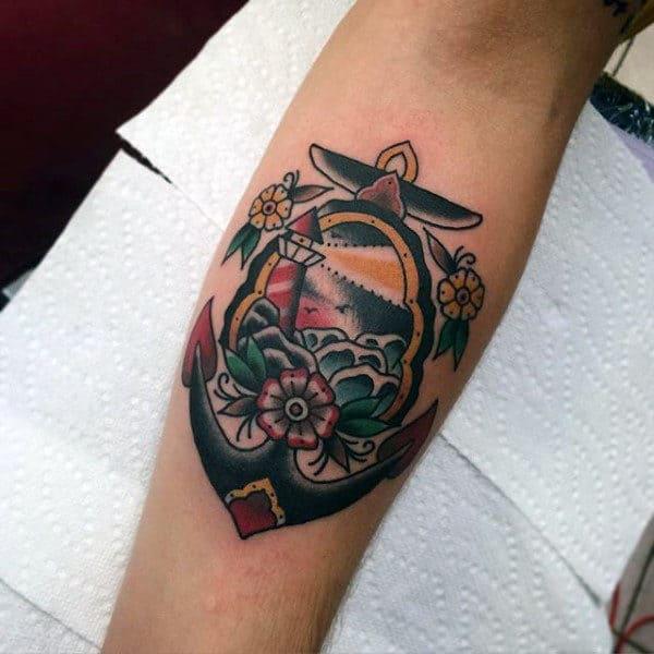 Light House Traditional Anchor Mens Inner Forearm Tattoos