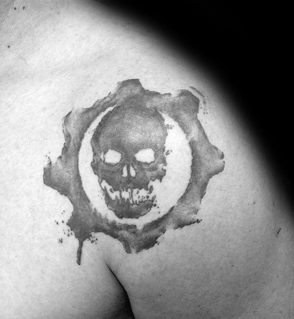Light Shaded Gears Of War Mens Upper Shoulder Tattoo