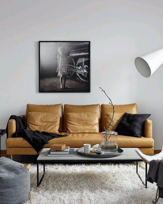 Light Tan Mens Masculine Bachelor Pad Furniture Sofa Ideas