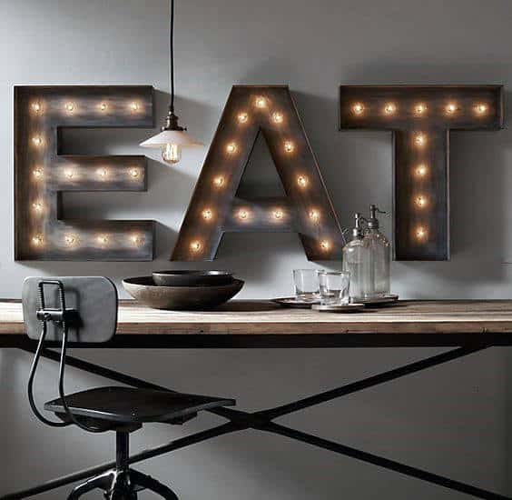 Light Up Eat Wall Sign Man Cave Decor