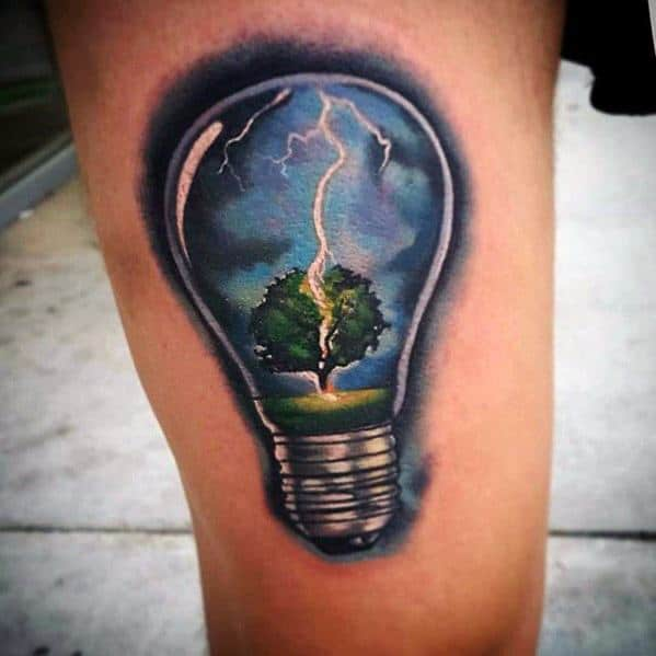 Lightbulb Thunderstorm With Lighting Striking Tree Guys 3d Realistic Tattoo Designs