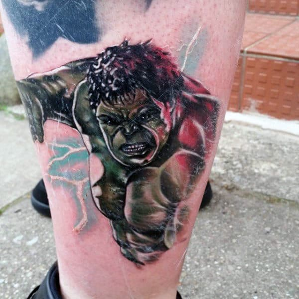 Lightening Hulk Tattoo Male Lower Legs
