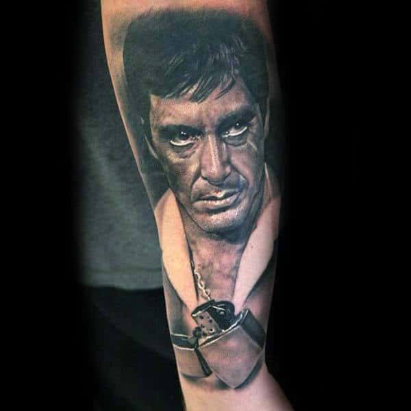 Lighter With Scarface Design Mens Forearm Tattoo