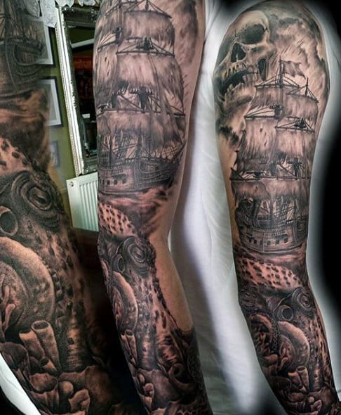 Pirate Ship Full Sleeve Tattoo