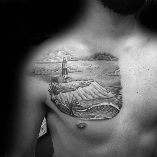 Lighthouse Beach Clouds In Sky Male Chest Tattoo