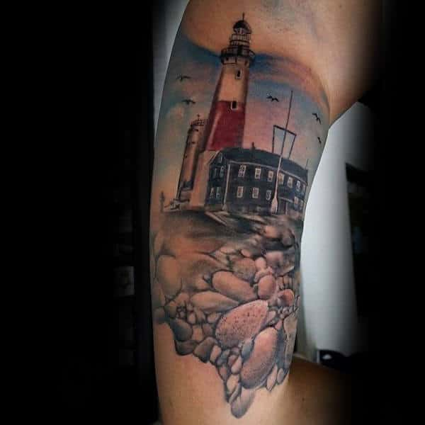 Lighthouse Beach Rocks Inner Arm Tattoo For Men
