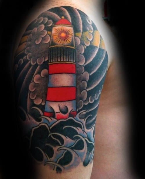 Lighthouse Cloud With Waves Japanese Guys Half Sleeve Tattoo